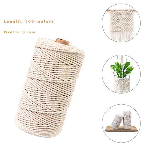 Sunshine smile naturliches Baumwolle Garn,Baumwollgarn Basteln,baumwollkordel weiß,Kordel DIY Handwerk,makramee garn(100M-3mm)