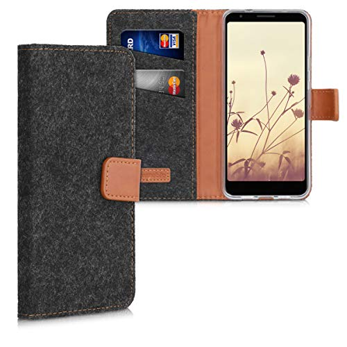 kwmobile Hülle kompatibel mit Google Pixel 3a - Filz Kunstleder Wallet Case in Dunkelgrau Braun - Kartenfächer Stand