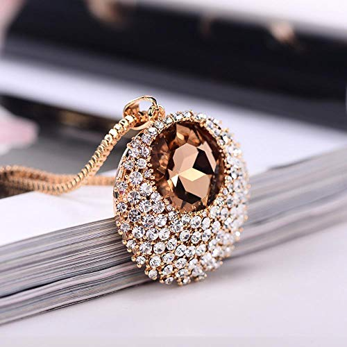 KFYU Halskette Damen Sweater Chain Crystal Kleidung Gold-Champagne
