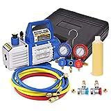 Goplus 1/3HP 4CFM Single Stage Rotary Vane Vacuum Pump and R134a Manifold Gauge Set, HVAC A/C...