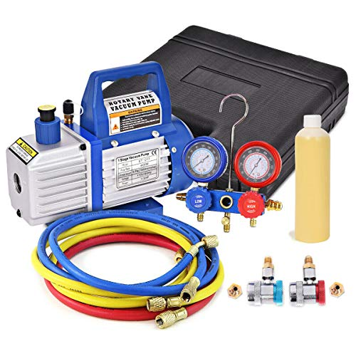 Goplus 1/3HP 4CFM Single Stage Rotary Vane Vacuum Pump and R134a Manifold Gauge Set, HVAC A/C Refrigeration Kit, Including Vacuum Pump, A Bottle of Vacuum Pump Oil, Suitable for R12, R22, R134