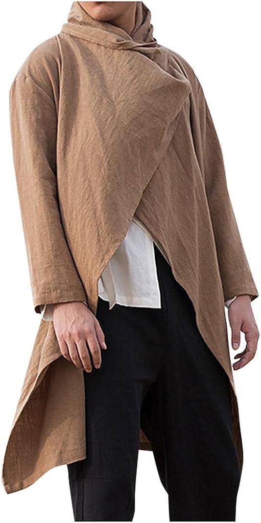 Men's Solid Color Fashion Trend Windbreaker Mid-Length Cloak Cardigan Long-Sleeved Jacket Chic Jacket Coats