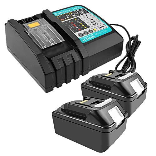 2 Stück 18V 4.0Ah Li-Ion-Ersatzakku mit 3A Ladegerät Ersatz für Makita Akku-Baustellenradio DMR110 DMR112 DMR107 DMR108 BMR100 BMR102 DMR102 DMR102 DMR100 18V schnurloses Bluetooth-Radio