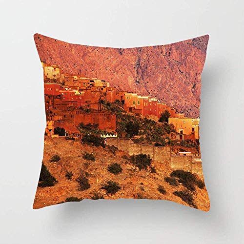 N\A Attraction Blue Africa Moroccan Kasbah Atlas Mountains Adventure Peaceful Parks Arid Berber Cloud Soft Cotton Pillowcase Home Decor Throw Pillow Cover for Living Room