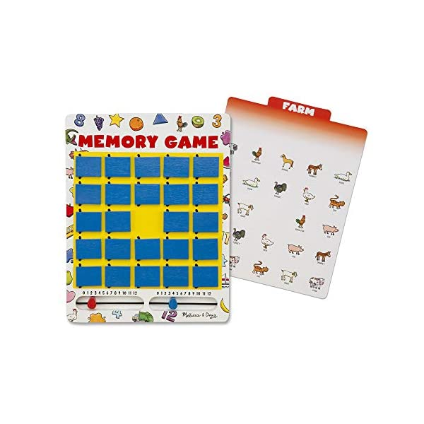 Melissa & Doug Flip to Win Travel Memory Game – Wooden Game Board, 7 Double-Sided...