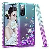 LeYi Funda Samsung Galaxy S20 FE / S20 FE 5G / S20 Lite Silicona Purpurina Carcasa, Transparente Cristal Bumper Gel TPU Fundas Case Cover para Movil S20 FE Verde/Morado