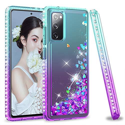 LeYi für Samsung Galaxy S20 FE 4G/5G Hülle Glitzer Handyhülle, Diamond Cover Bumper Schutzhülle für Case Samsung Galaxy S20 FE (Fan Edition) 4G/5G Handy Hüllen Türkis Lila