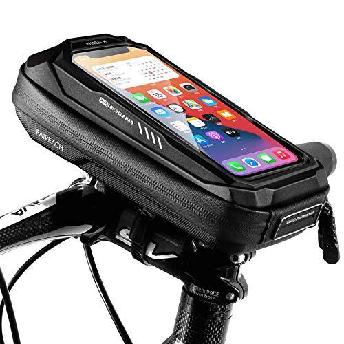 Faireach Bolsa Bicicleta Cuadro, Bolsa Bici, Bolsa Manillar Bicicleta con Soporte Móvil Impermeable y con Ventana para Pantalla Táctil, para iPhone, Samsung y Otros Smartphones de hasta 6,7''