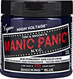 Manic Panic Shocking Blue Hair Dye – Classic High Voltage - Semi Permanent Hair Color - Dark Blue Shade With Purple Undertones - For Dark & Light Hair - Vegan, PPD & Ammonia Free - For Coloring Hair