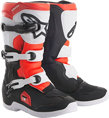 Alpinestars Tech 3S Youth Motocross Off-Road Motorcycle Boots, Black/White/Red, Size Youth 13