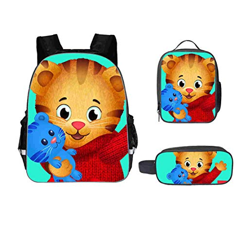 Lanberin Students Back to School Daniel The Tiger Backpack-Canvas Travel Backpack+Pencil Bag+Lunch Box for Kids