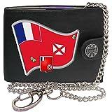 Wallis Futuna Drapeau Carte Armoiries KLASSEK Hommes Portefeuille avec chaîne Cuir véritable RFID Blocage Poche à Monnaie avec Boîte en Métal