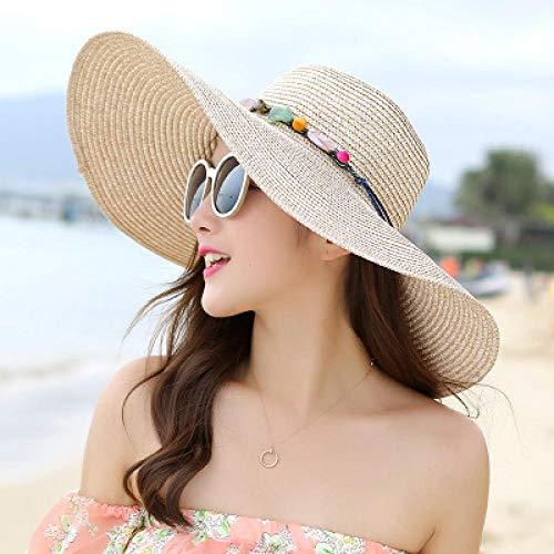 DöllSonnenhut Hut Frauen Big Brim Sun Hats Bunte Stein Handgemachte Strohhut Weibliche Sommerhut Casual Shade Strandhut Cap Khaki