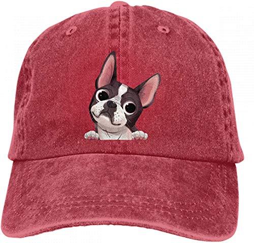 Boston Terrier - Gorra de béisbol para adultos, diseño de perro vaquero rojo Talla única