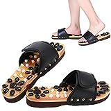 Zapatos de masaje Zapatos de masaje de piedras naturales Reflexología de los pies Accupressure para el cuidado de los pies en el hogar(38-negro)