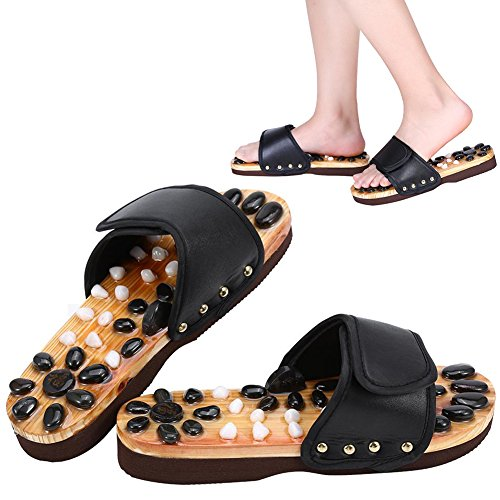 Scarpe da massaggio Massaggio con pietre naturali Scarpe Riflessologia plantare Accupressure per la cura dei piedi a casa(41-Nero)