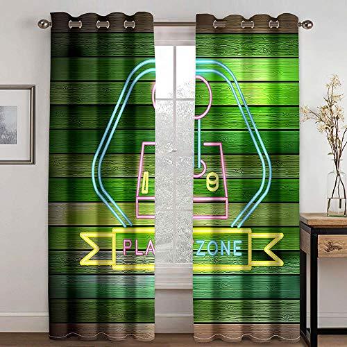Área De Juego Cortina Opaca con Ojales 2 Piezas Cortinas Térmicas Aislantes Moderna Decoración Ventanas para Dormotorio Habitacion Salon 170 × 255 cm