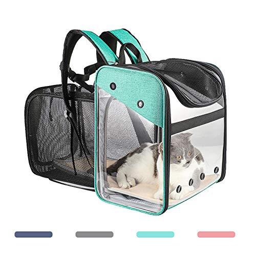 AONESY Hunde Katzen Rucksack Erweiterbar, Tragbar Hunderucksack mit Netzöffnung Sichtbares Acryl, Ausziehbarer Rücken Mehr Platz zum Tragen von Welpen Katze Hase Kleine Hunde bis 10 kg