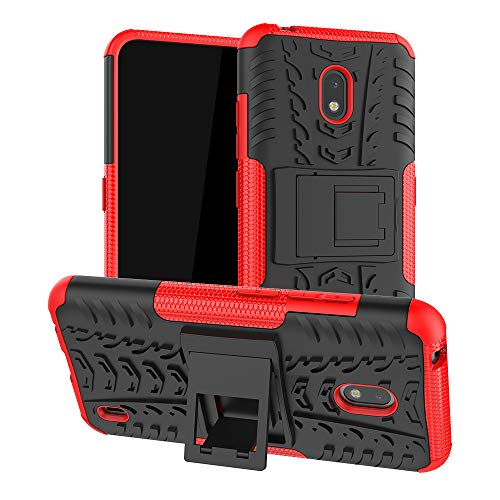 LFDZ Nokia 2.2 2019 Hülle,Abdeckung Cover schutzhülle Tough Strong Rugged Shock Proof Heavy Duty Hülle Für Nokia 2.2 2019 (Not fit Other Models),Rot