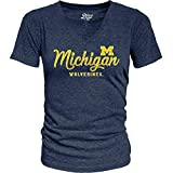 Elite Fan Shop Michigan Wolverines Womens Triblend Tshirt Vintage - Large - Navy