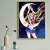 wZUN Póster de Pintura de Lienzo de Anime japonés Sexy Sailor Moon y Foto de Arte de Pared para niños Sala de Estar decoración del hogar 60X90 Sin Marco