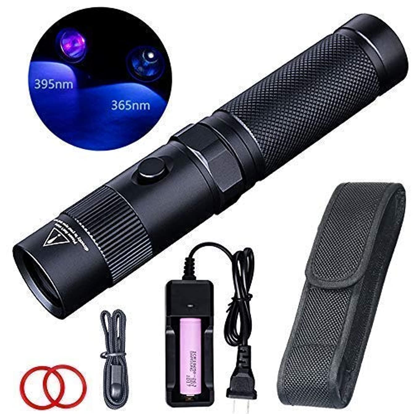 LIGHTFE UV Flashlight 365nm UV Black light UV302D with LG UV LED Source, Black Filter Lens, Max.3000mW high power for UV Glue Curing, Rocks and Mineral Glowing, Pet Urine Detector, AC Leak Detector …
