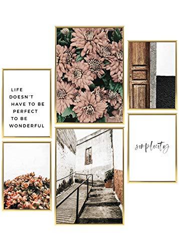 Heimlich® Premium Poster Set   Stilvolles Set mit passenden Bilder als Wohnzimmer Deko   2 x DIN A3 & 4 x DIN A4 - ca. 30x42 & 21x30   Bilderrahmen Aluminium Gold » Floral Simplicity «