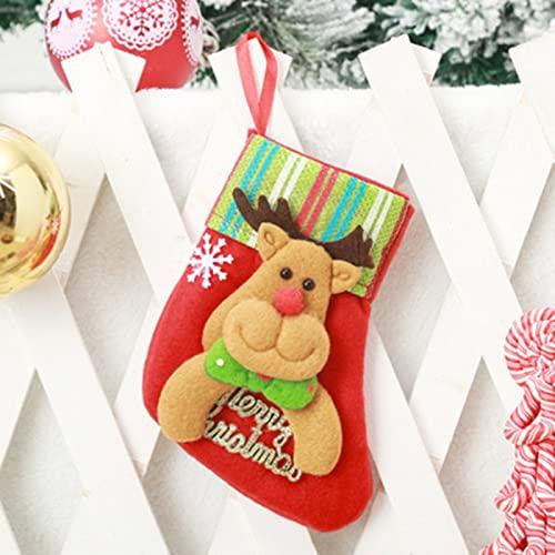 MLOPPTE Navidad,Medias de Dibujos Animados Calcetines de Tela de Santa Candy Lovely Bag DIY para niños Chimenea Árbol Decoración navideña SC