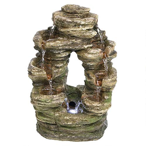 Water Fountain with LED Light - Horseshoe Bend Rock Garden Decor Tabletop Fountain - Desk Fountain Water Feature
