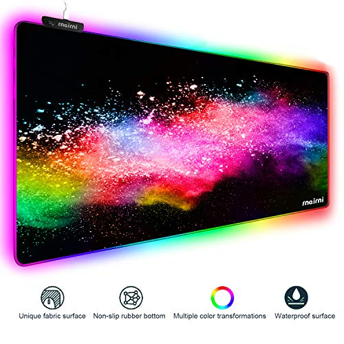 Extended RGB Gaming Mouse Pad, Extra Large Gaming Mouse Mat for Gamer, Waterproof Office Dest Mat with 10 Lighting Mode, for PC Computer RGB Keyboard Mouse MacBook - 31.5'' x 11.8