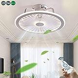 Luz Del Ventilador Del Ventilador 56W LED Con Las Luces Iluminación Lámpara De Techo Regulable Mando A Distancia Moderno Ultrafino Invisible Ultra Silencioso De Salón Dormitorio Puede Sincronización