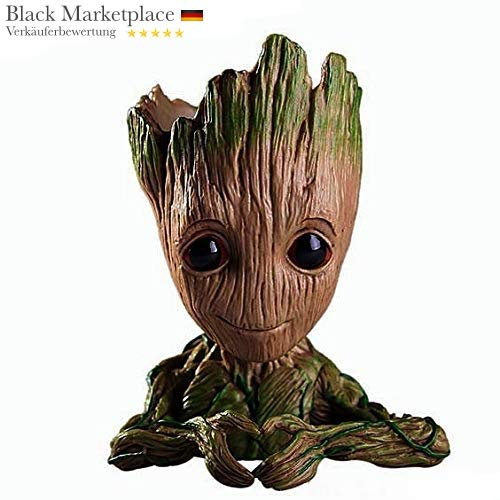 Baby Groot Blumentopf - Übertopf Groß Aquarium Deko Figur Holz Aschenbecher Stiftehalter Actionfigur Fanartikel Kräutergarten