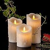 Air Zuker 3er LED Flammenlose Kerzen Tropfenförmige batteriebetriebene Kerzen Säule Echtwachskerzen mit Timer und 10 Tasten Fernbedienung, höhe 4″5″ 6″ für Dekorations zB. Party, Hochzeit, Tisch - 5