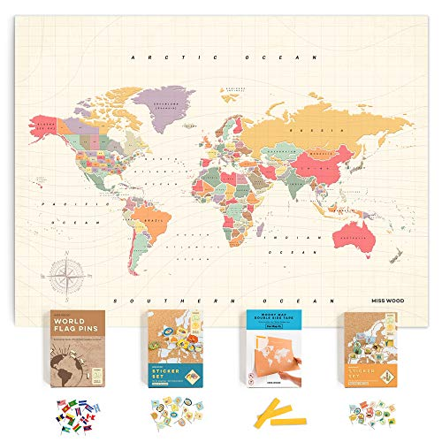 Push Pin Travel Map Kit Includes: Cork World Travel Map, World Flags, Food Stickers, for Travelers (Tropical, XL (23.6 x 35.4 inches))