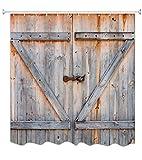 A.Monamour Cortina de Ducha Antimoho Impermeable Lavable Tela Tablones De Madera Rústica Puerta De Granero Poliéster Cortinas de Baño con Ganchos 180x200 cm