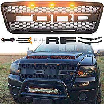 Front Grill for F150 2004 2005 2006 2007 2008,Including XL XLT Lightning King Ranch and Limited F150 Front Grill Raptor Style Amber LED Lights Front Upper Hood black