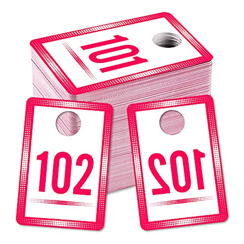 """SICOHOME Live Sale Number Tags 101-200 Number Series,1.7""""x 2.5"""" Normal and Reverse Mirror Image Number Tags for Online Live Sale"""