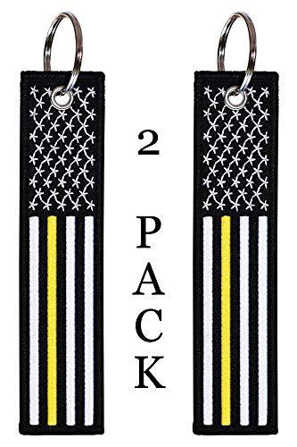 American Flag Keychain Tag with Key Ring and Carabiner - Emergency Dispatcher/Tow Truck Driver/Security Guard - Keys, Cars, Motorcycles, Backpacks, Luggage, and Gifts - EDC (Thin Gold/Yellow Line)