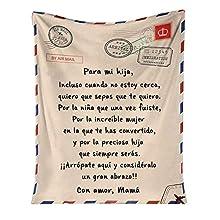 QKFON Manta Premium para mi Hija/Hijo, Manta de Estilo sobre con impresión de Carta, Duradera y cómoda Manta de Franela para el hogar (01, 150x200cm)