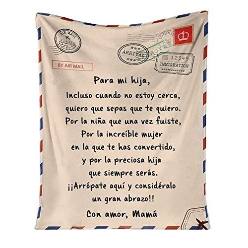 QKFON Manta Premium para mi Hija/Hijo, Manta de Estilo sobre con impresión de Carta, Duradera y cómoda Manta de Franela para el hogar (01, 140x180cm)