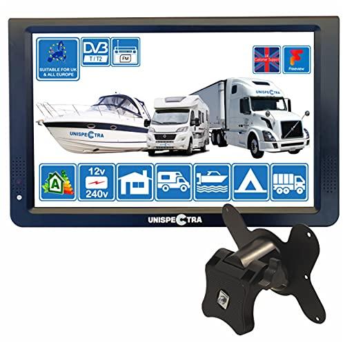 Camper Caravan Bateau 12 pouces LED TV numérique HD DVB-T2 pour la télévision gratuite Dans Toute l'Europe PVR USB 12V 240V et lecteur multimédia, CCTV HDMI par Unispectra (TV+Soporte de Pared)
