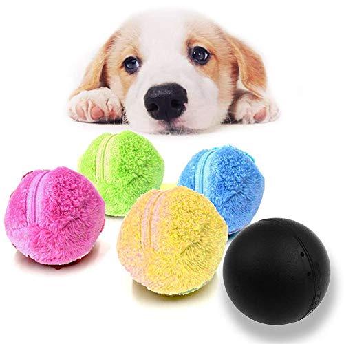 Wide.ling Magic Roller Ball, 2-in-1-Funktion Pet Electric Toy Ball mit 4 Wollbezug für Hundekatze Pet, Richtungswechsel automatisch Mikrofaser-Moppball, Nicht quietschendes Kratz-Übungsspielzeug