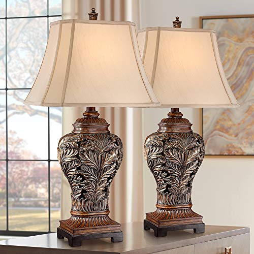 Traditional Table Lamps Set of 2 Bronze Brown Carved Leaf Openwork Vase Tan Rectangular Shade Decor for Living Room Bedroom House Bedside Nightstand Home Office Entryway Family - Barnes and Ivy