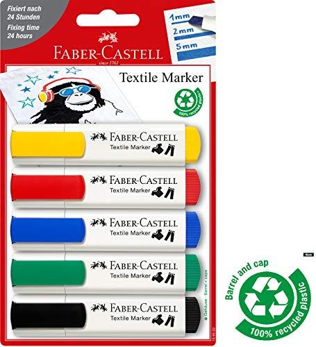 Faber-Castell 159520 - Textilmarker 5er, in Standardfarben