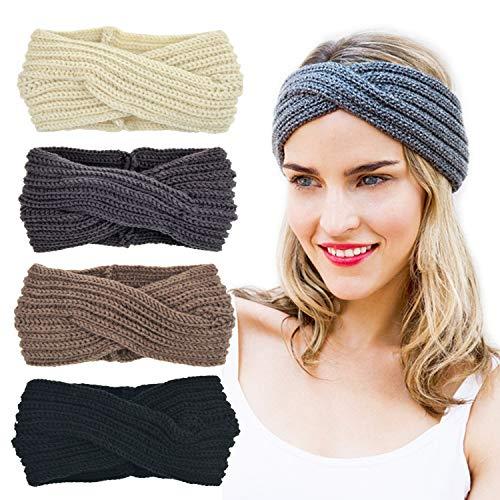 DRESHOW 4 Stück Stirnband Damen Winter Häkeln Stirnbänder Gestrickt Stirnband Kopfband Haarband Ohr Wärmer