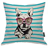 Moslion Dog Pillow Home Decorative Throw Pillow Cover Dog Wear Purple Sunglasses Pattern Square Cushion Cover Standard Pillow Cases for Women Girls Kid Sofa Bedroom Livingroom 18
