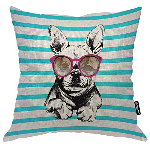 Moslion Dog Pillow Home Decorative Throw Pillow Cover Dog Wear Purple Sunglasses Pattern Square Cushion Cover Standard Pillow Cases for Women Girls Kid Sofa Bedroom Livingroom 18'x18' Black Teal …