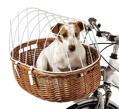 Aumüller Wicker Bicycle Basket - Traffic-Safe, Easily Mountable - Carries Up to 12kg - Your Pet will be Perfectly Secure, Allowing you to Ride Worry-Free (52 x 38 x 39 cm (L x W x H))