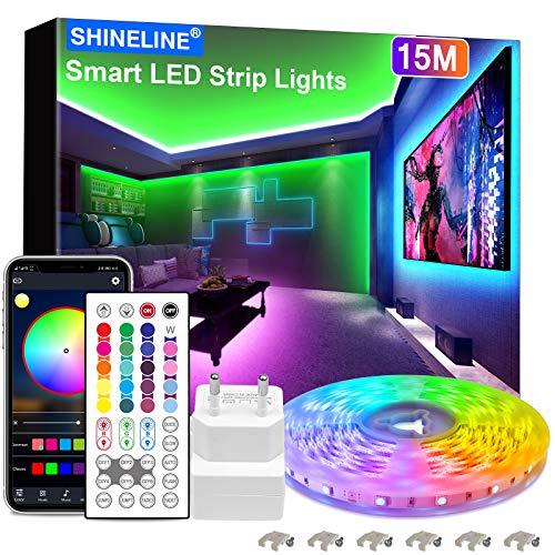 15M LED Strip, SHINELINE 1 Rolle Bluetooth App und Fernbedienung RGB LED Streifen, Musik Sync Farbwechsel LED Lichtband...