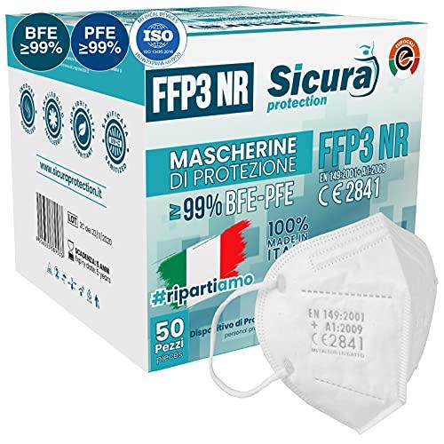 50x FFP3 Maske CE Zertifiziert Filterklasse BFE ≥99% PFE ≥99% FFP3 Masken SANITIZIERTE und Einzeln versiegelte ISO 13485 Atemschutzmaske CE Hergestellt verpackt in Italien